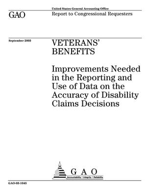 Primary view of object titled 'Veterans' Benefits: Improvements Needed in the Reporting and Use of Data on the Accuracy of Disability Claims Decisions'.
