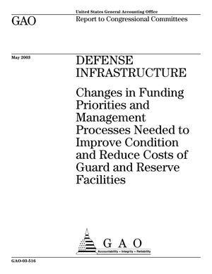 Primary view of object titled 'Defense Infrastructure: Changes in Funding Priorities and Management Processes Needed to Improve Condition and Reduce Costs of Guard and Reserve Facilities'.