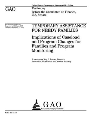 Primary view of object titled 'Temporary Assistance for Needy Families: Implications of Caseload and Program Changes for Families and Program Monitoring'.