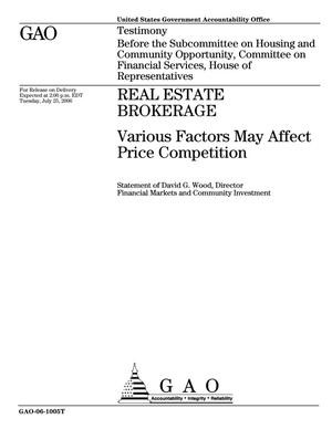 Primary view of object titled 'Real Estate Brokerage: Various Factors May Affect Price Competition'.