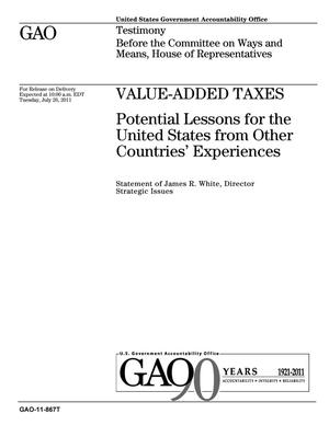 Primary view of object titled 'Value-Added Taxes: Potential Lessons for the United States from Other Countries' Experiences'.