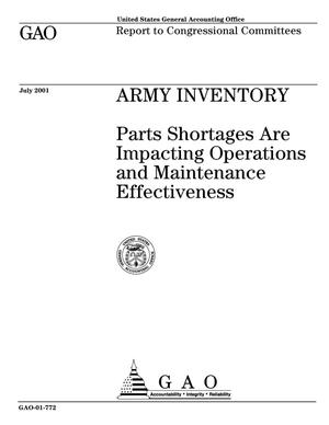 Primary view of object titled 'Army Inventory: Parts Shortages Are Impacting Operations and Maintenance Effectiveness'.