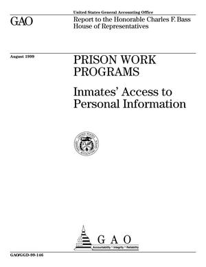 Primary view of object titled 'Prison Work Programs: Inmates' Access to Personal Information'.