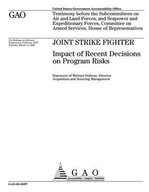 Primary view of object titled 'Joint Strike Fighter: Impact of Recent Decisions on Program Risks'.