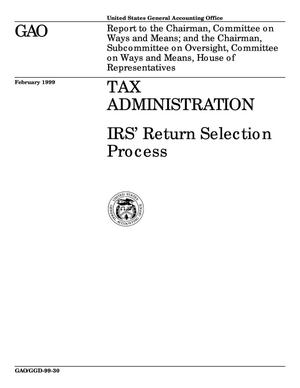Primary view of object titled 'Tax Administration: IRS' Return Selection Process'.