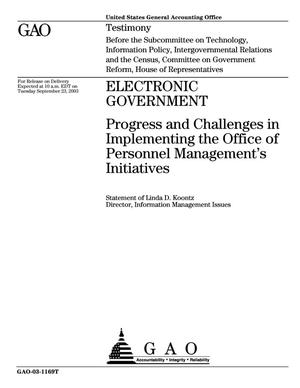 Primary view of object titled 'Electronic Government: Progress and Challenges in Implementing the Office of Personnel Management's Initiatives'.