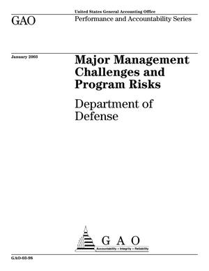 Primary view of object titled 'Major Management Challenges and Program Risks: Department of Defense'.