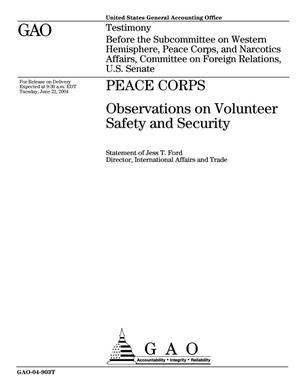 Primary view of object titled 'Peace Corps: Observations on Volunteer Safety and Security'.