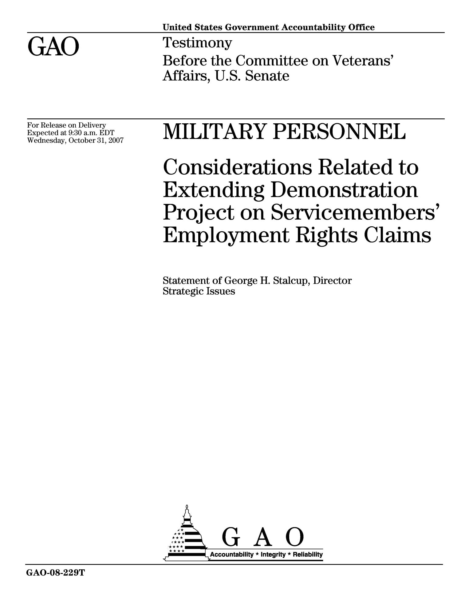 Military Personnel: Considerations Related to Extending Demonstration Project on Servicemembers' Employment Rights Claims                                                                                                      [Sequence #]: 1 of 15