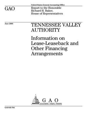Primary view of object titled 'Tennessee Valley Authority: Information on Lease-Leaseback and Other Financing Arrangements'.