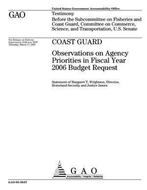 Primary view of object titled 'Coast Guard: Observations on Agency Priorities in Fiscal Year 2006 Budget Request'.