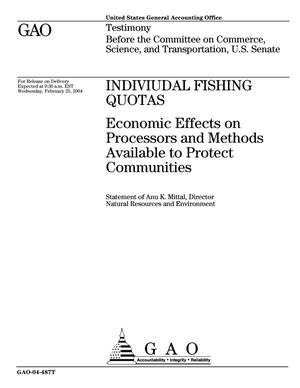 Primary view of object titled 'Individual Fishing Quotas: Economic Effects on Processors and Methods Available to Protect Communities'.