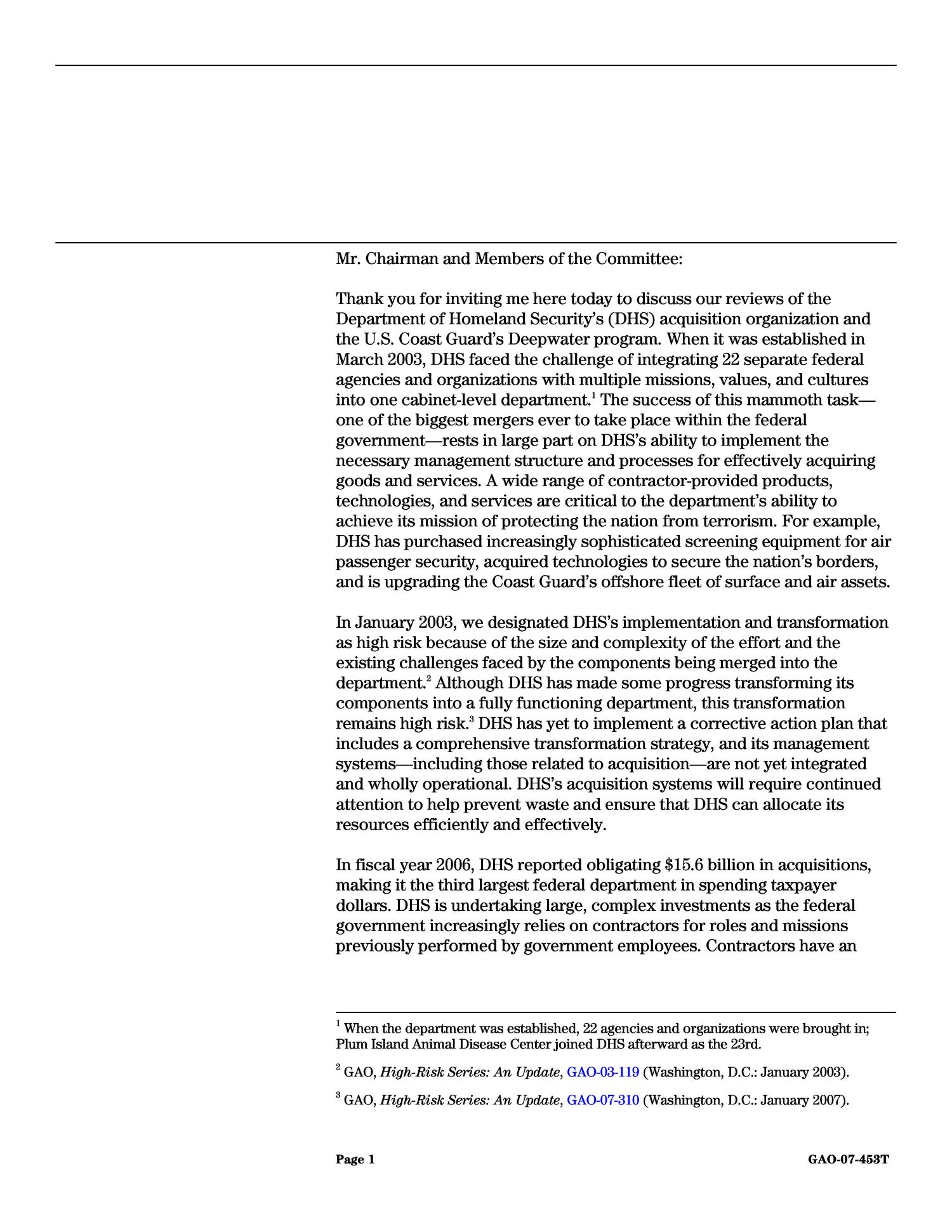Homeland Security: Observations on the Department of Homeland Security's Acquisition Organization and on the Coast Guard's Deepwater Program                                                                                                      [Sequence #]: 3 of 22