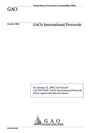 Primary view of object titled 'GAO's International Protocols'.