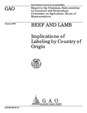 Primary view of object titled 'Beef and Lamb: Implications of Labeling by Country of Origin'.