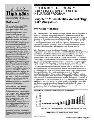 Primary view of object titled 'Pension Benefit Guaranty Corporation Single-Employer Insurance Program: Long-Term Vulnerabilities Warrant 'High Risk' Designation'.