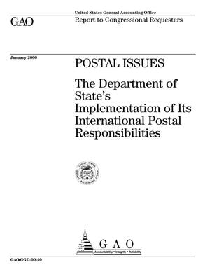 Primary view of object titled 'Postal Issues: The Department of State's Implementation of Its International Postal Responsibilities'.