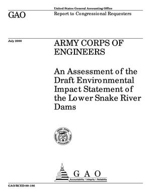 Primary view of object titled 'Army Corps of Engineers: An Assessment of the Draft Environmental Impact Statement of the Lower Snake River Dams'.