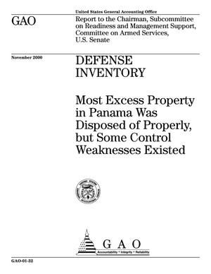 Primary view of object titled 'Defense Inventory: Most Excess Property in Panama Was Disposed of Properly, but Some Control Weaknesses Existed'.