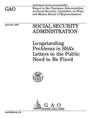 Primary view of object titled 'Social Security Administration: Longstanding Problems in SSA's Letters to the Public Need to Be Fixed'.
