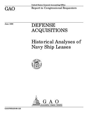 Primary view of object titled 'Defense Acquisitions: Historical Analyses of Navy Ship Leases'.