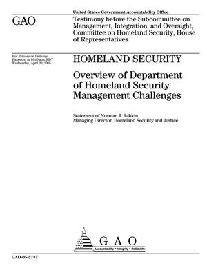 Primary view of object titled 'Homeland Security: Overview of Department of Homeland Security Management Challenges'.