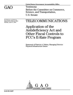 Primary view of object titled 'Telecommunications: Application of the Antideficiency Act and Other Fiscal Controls to FCC's E-Rate Program'.