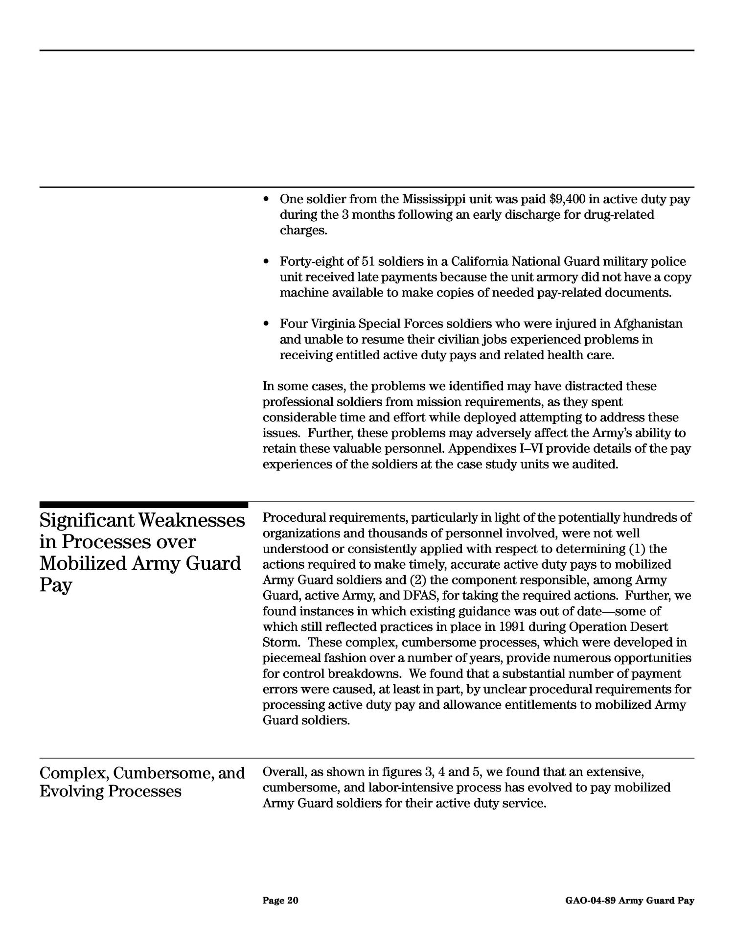 Military Pay: Army National Guard Personnel Mobilized to Active Duty ...