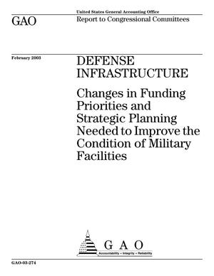 Primary view of object titled 'Defense Infrastructure: Changes in Funding Priorities and Strategic Planning Needed to Improve the Condition of Military Facilities'.