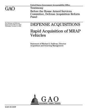 Primary view of object titled 'Defense Acquisitions: Rapid Acquisition of MRAP Vehicles'.