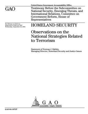 Primary view of object titled 'Homeland Security: Observations on the National Strategies Related to Terrorism'.