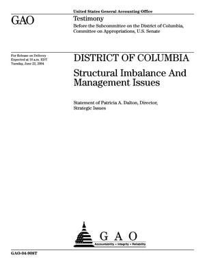 Primary view of object titled 'District of Columbia: Structural Imbalance and Management Issues'.