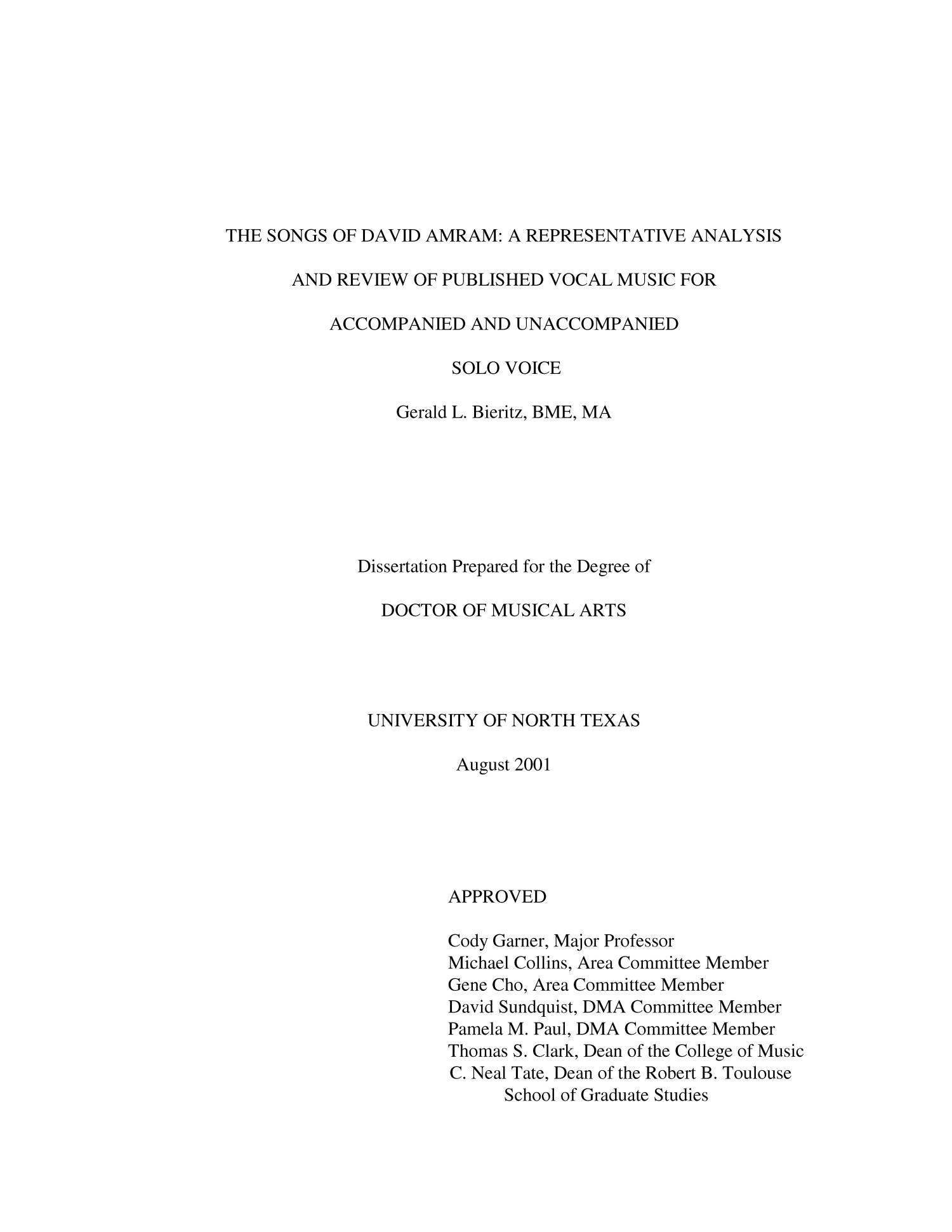 The Songs of David Amram: A representative analysis and