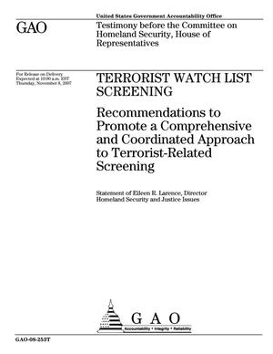 Primary view of object titled 'Terrorist Watch List Screening: Recommendations to Promote a Comprehensive and Coordinated Approach to Terrorist-Related Screening'.