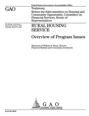 Primary view of object titled 'Rural Housing Service: Overview of Program Issues'.