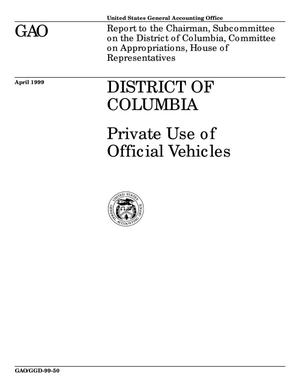 Primary view of object titled 'District of Columbia: Private Use of Official Vehicles'.
