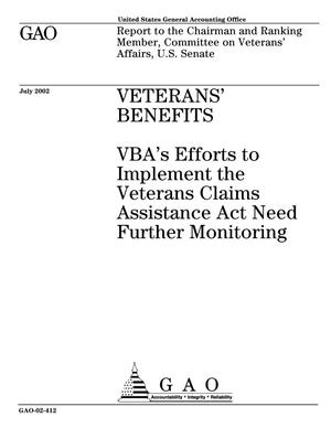 Primary view of object titled 'Veterans' Benefits: VBA's Efforts to Implement the Veterans Claims Assistance Act Need Further Monitoring'.