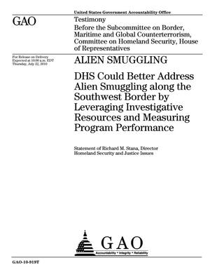 Primary view of object titled 'Alien Smuggling: DHS Could Better Address Alien Smuggling along the Southwest Border by Leveraging Investigative Resources and Measuring Program Performance'.