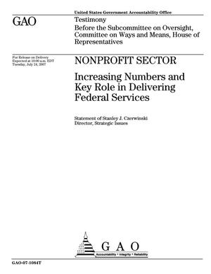 Primary view of object titled 'Nonprofit Sector: Increasing Numbers and Key Role in Delivering Federal Services'.