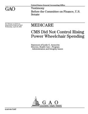 Primary view of object titled 'Medicare: CMS Did Not Control Rising Power Wheelchair Spending'.