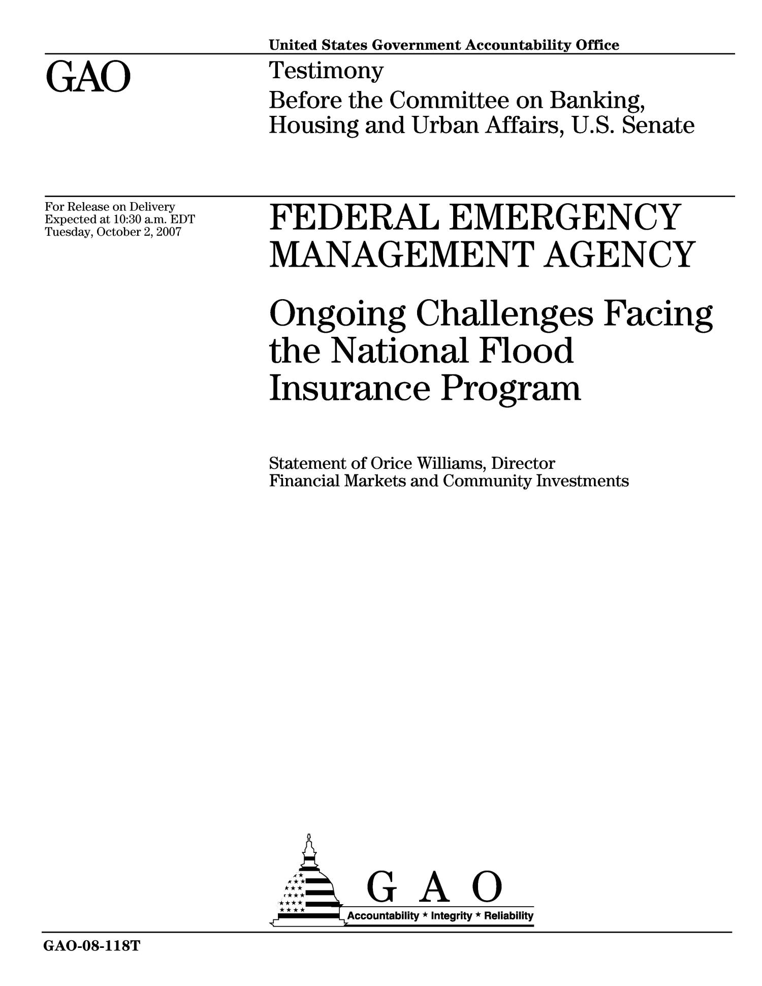 Federal Emergency Management Agency: Ongoing Challenges Facing the National Flood Insurance Program                                                                                                      [Sequence #]: 1 of 20