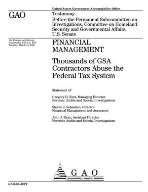Primary view of object titled 'Financial Management: Thousands of GSA Contractors Abuse the Federal Tax System'.