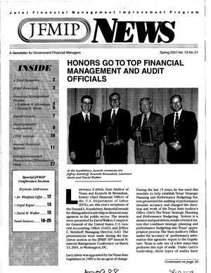 Primary view of object titled 'JFMIP News: A Newsletter for Government Financial Managers, Spring 2001, Vol. 13, No. 1'.