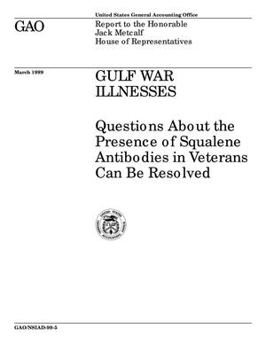 Primary view of object titled 'Gulf War Illnesses: Questions About the Presence of Squalene Antibodies in Veterans Can Be Resolved'.