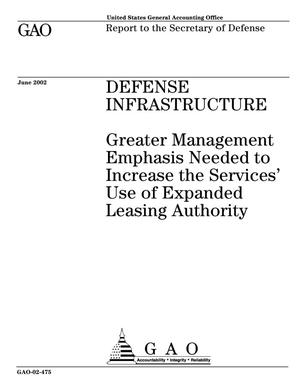 Primary view of object titled 'Defense Infrastructure: Greater Management Emphasis Needed to Increase the Services' Use of Expanded Leasing Authority'.