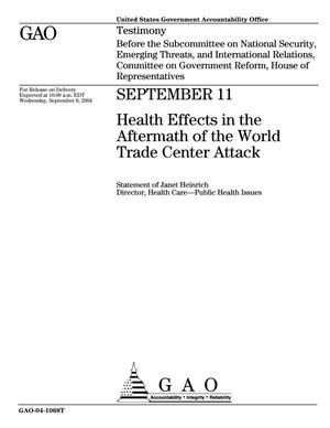 Primary view of object titled 'September 11: Health Effects in the Aftermath of the World Trade Center Attack'.