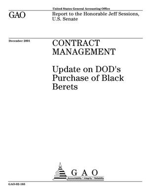 Primary view of object titled 'Contract Management: Update on DOD's Purchase of Black Berets'.