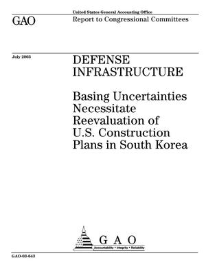 Primary view of object titled 'Defense Infrastructure: Basing Uncertainties Necessitate Reevaluation of U.S. Construction Plans in South Korea'.