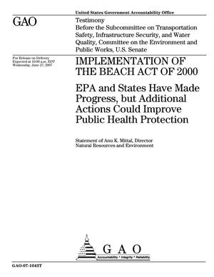 Primary view of object titled 'Implementation of the Beach Act of 2000: EPA and States Have Made Progress, but Additional Actions Could Improve Public Health Protection'.