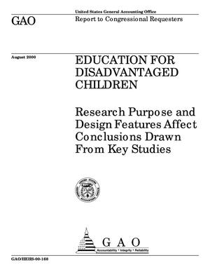 Primary view of object titled 'Education for Disadvantaged Children: Research Purpose and Design Features Affect Conclusions Drawn From Key Studies'.